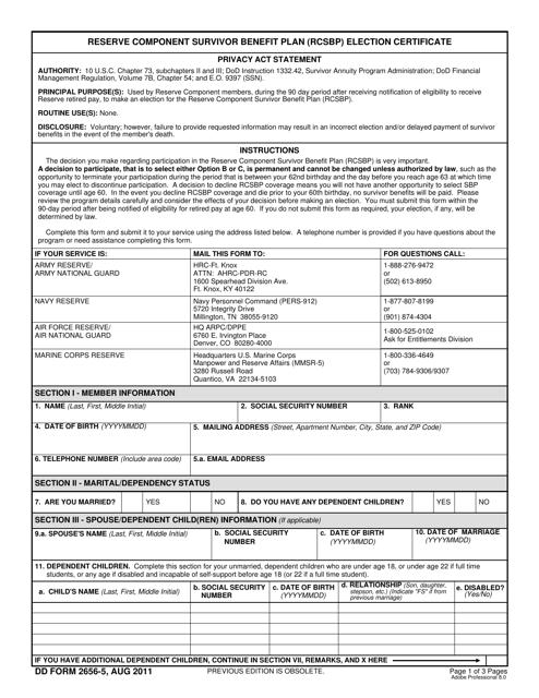 DD Form 2656-5 Fillable Pdf