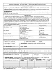 DD Form 2656-5 Reserve Component Survivor Benefit Plan (Rcsbp) Election Certificate