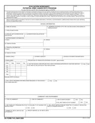 DA Form 7410 Evaluation Worksheet Potential Army Junior Rotc Program