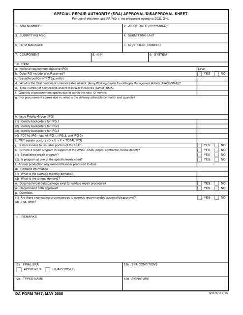 DA Form 7567  Fillable Pdf