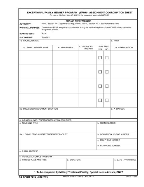 DA Form 7413 Fillable Pdf