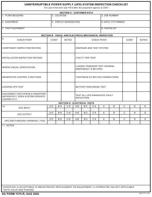 DA Form 7475-R  Printable Pdf
