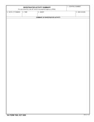 DA Form 7569 Investigator Activity Summary