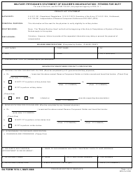 """DA Form 7574-1 """"Military Physician's Statement of Soldier's Incapacitation/Fitness for Duty"""""""