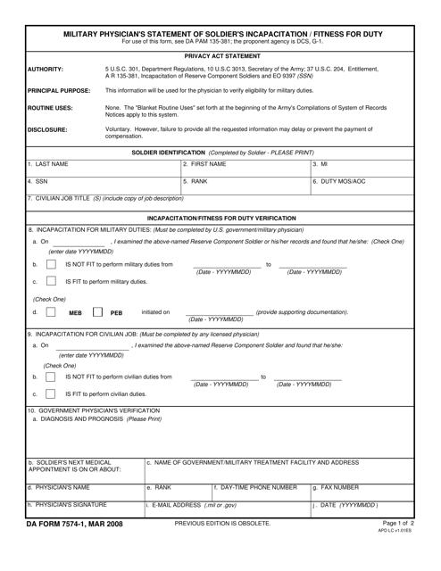 DA Form 7574-1  Printable Pdf