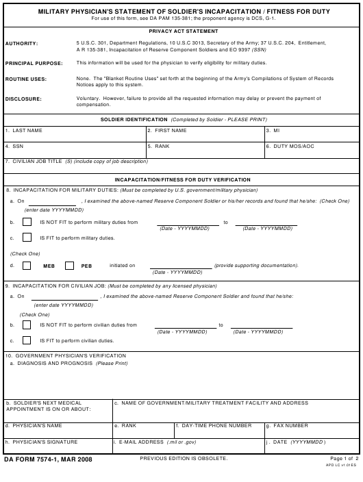 DA Form 7574-1  Fillable Pdf