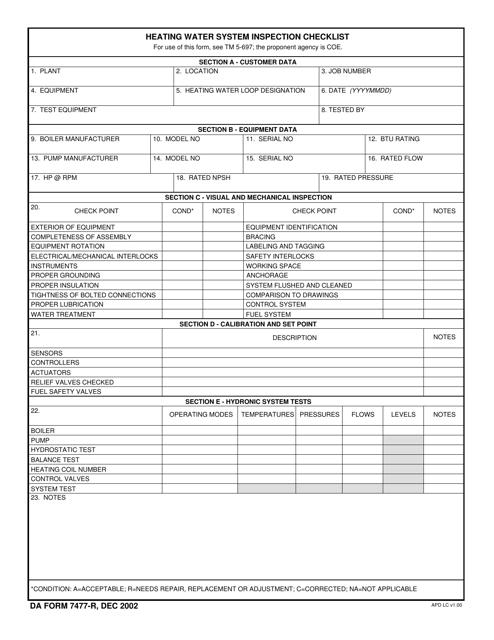 DA Form 7477-R  Printable Pdf