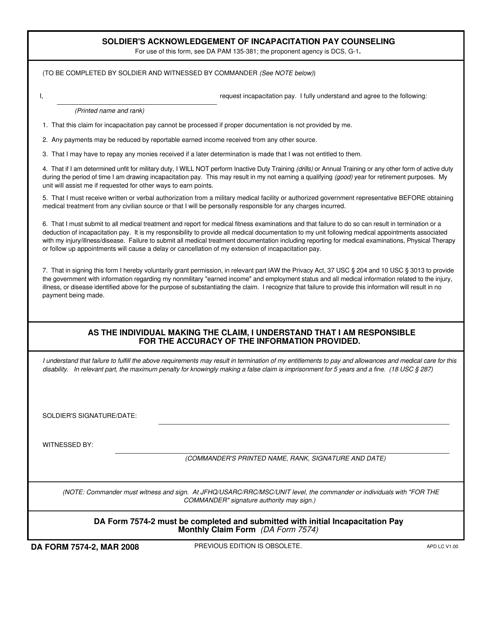 DA Form 7574-2 Fillable Pdf