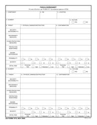 DA Form 7575 Fwsva Worksheet
