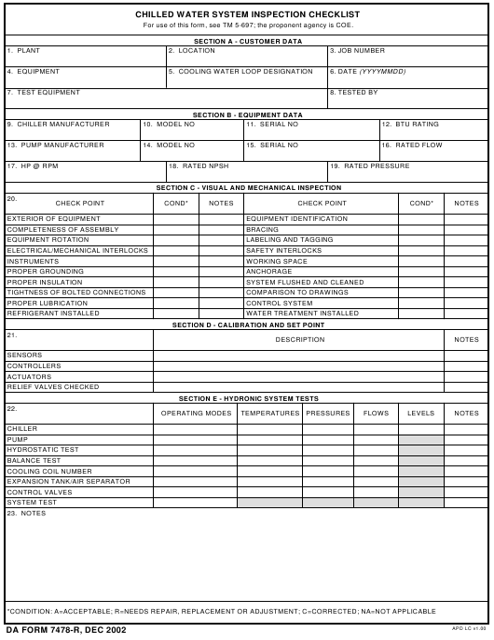DA Form 7478-R  Printable Pdf