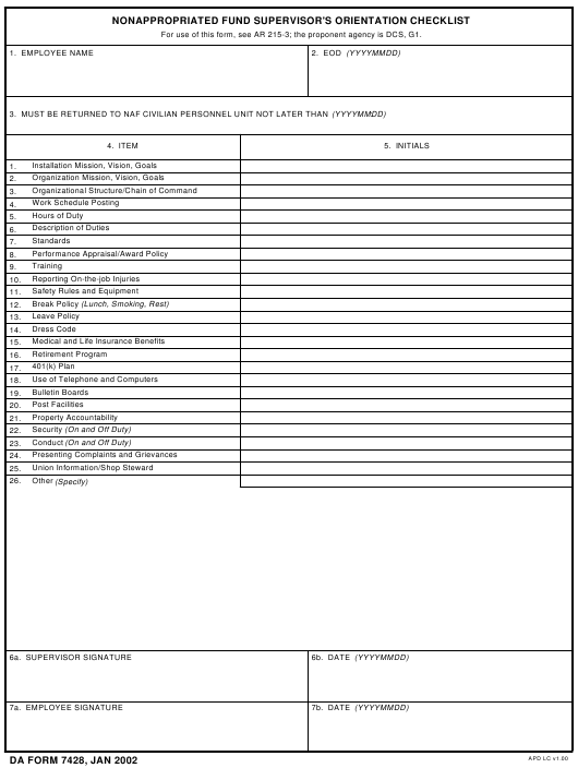 DA Form 7428 Fillable Pdf
