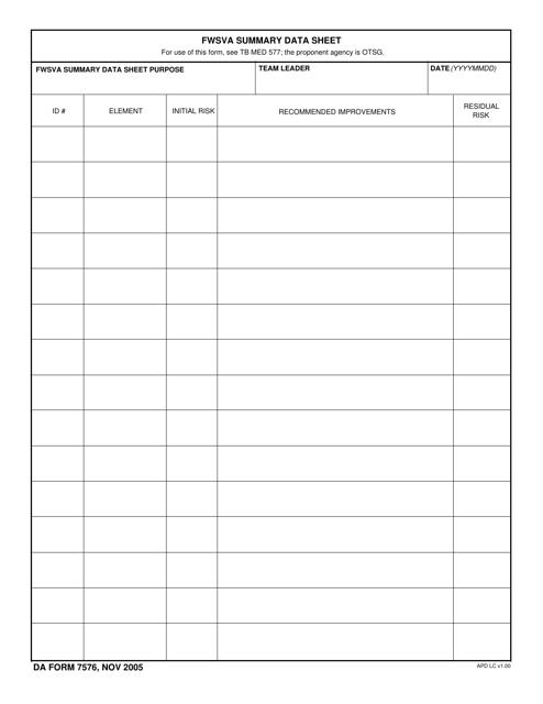 DA Form 7576 Fillable Pdf
