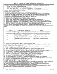 DA Form 7577 Treated Water Sampling Field Data Sheet, Page 2