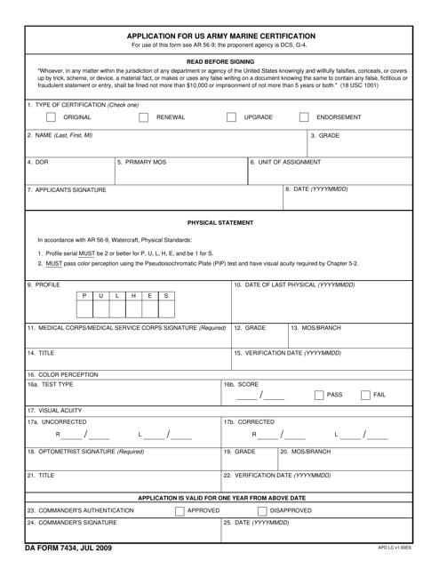 DA Form 7434  Printable Pdf