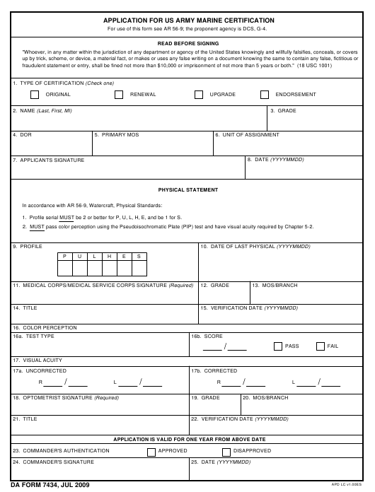 DA Form 7434 Fillable Pdf