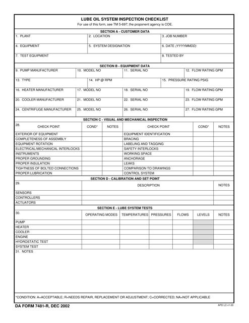 DA Form 7481-R Printable Pdf