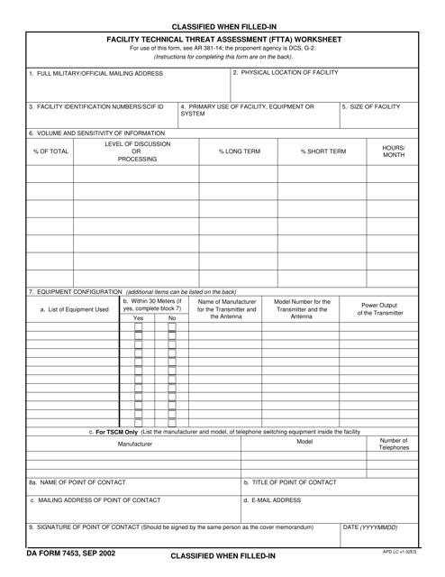 DA Form 7453 Fillable Pdf