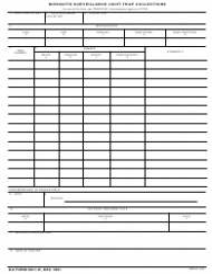 DA Form 8011-r Mosquito Surveillance Light Trap Collections
