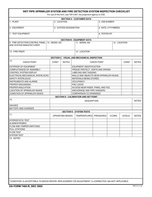 DA Form 7483-r Download Fillable PDF, Wet Pipe Sprinkler