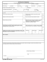 DA Form 7436 Certificate of Research