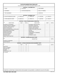 DA Form 7485-r Elevator Inspection Checklist
