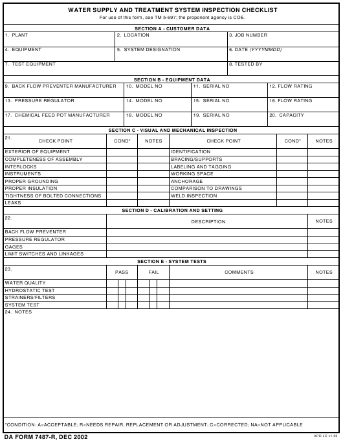 DA Form 7487-r Printable Pdf