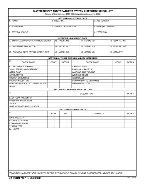 DA Form 7487-r Fillable Pdf