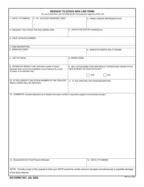 DA Form 7457 Fillable Pdf