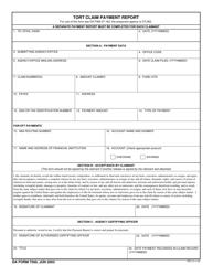 DA Form 7500 Tort Claim Payment Report