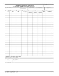 DA Form 8018-r Tick Survey Data, Tick Walk Data