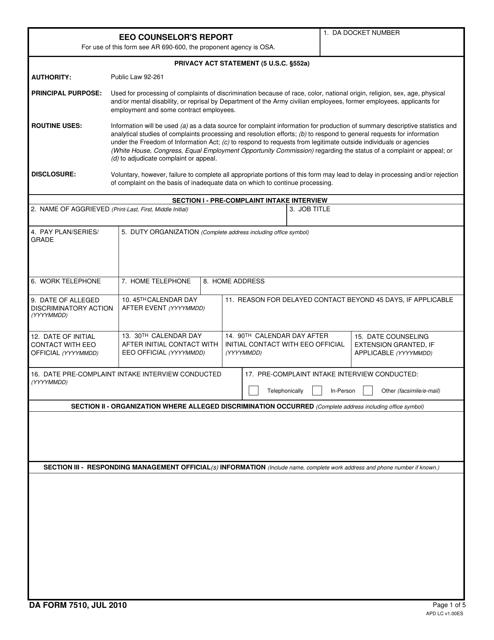 DA Form 7510  Fillable Pdf