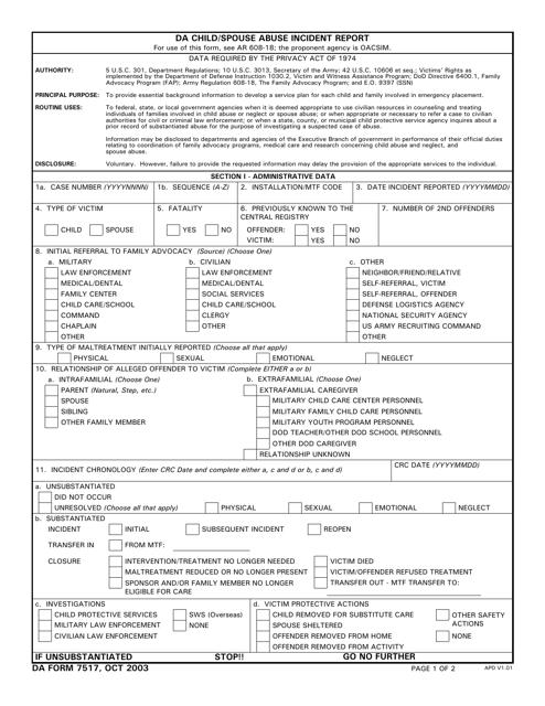 DA Form 7517  Fillable Pdf