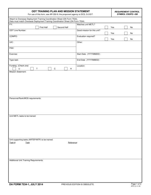DA Form 7534-1  Printable Pdf