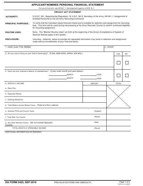 DA Form 5425  Fillable Pdf