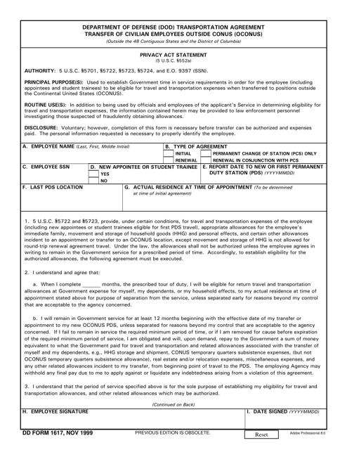 DD Form 1617 Printable Pdf