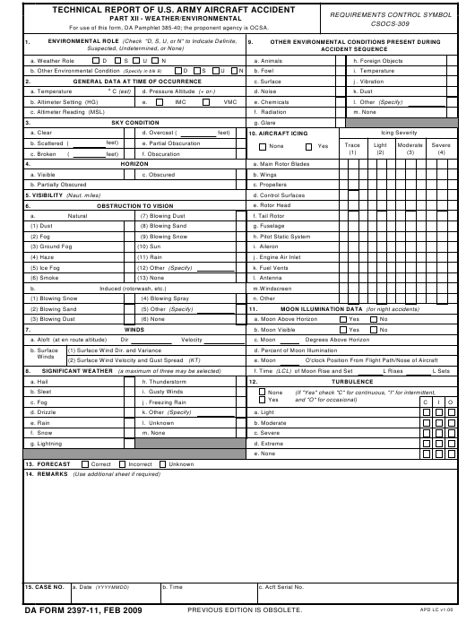 DA Form 2397-11  Fillable Pdf