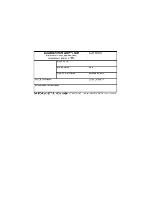 DA Form 2677-r  Fillable Pdf