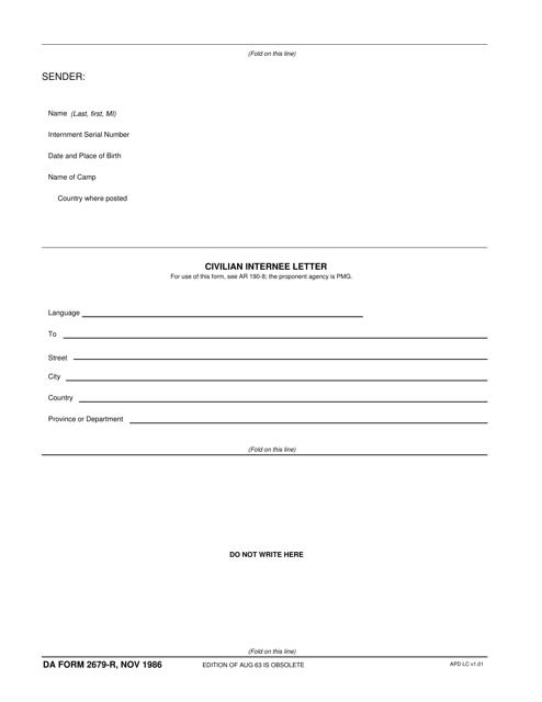 DA Form 2679-r Fillable Pdf