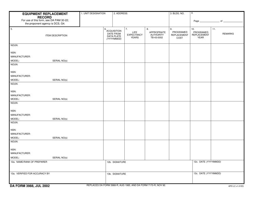 DA Form 3988  Printable Pdf