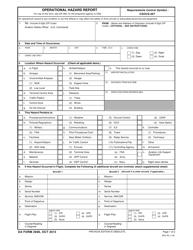 DA Form 2696 Operational Hazard Report