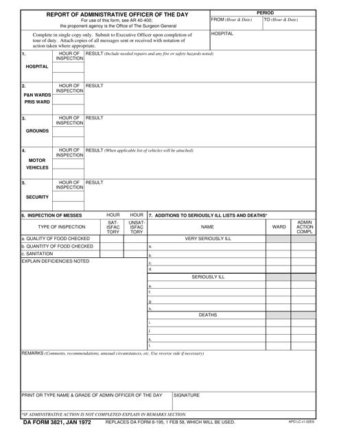 DA Form 3821 Fillable Pdf