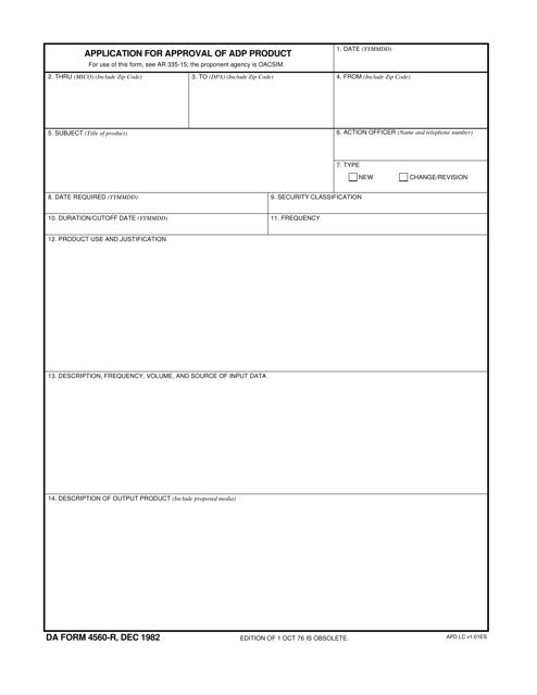 DA Form 4560-r Printable Pdf