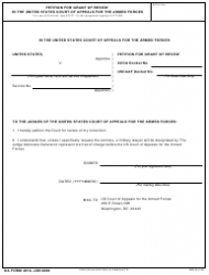 DA Form 4918 Petition for Grant of Review in the United States Court of Appeals for the Armed Forces