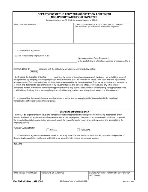 DA Form 3440 Fillable Pdf