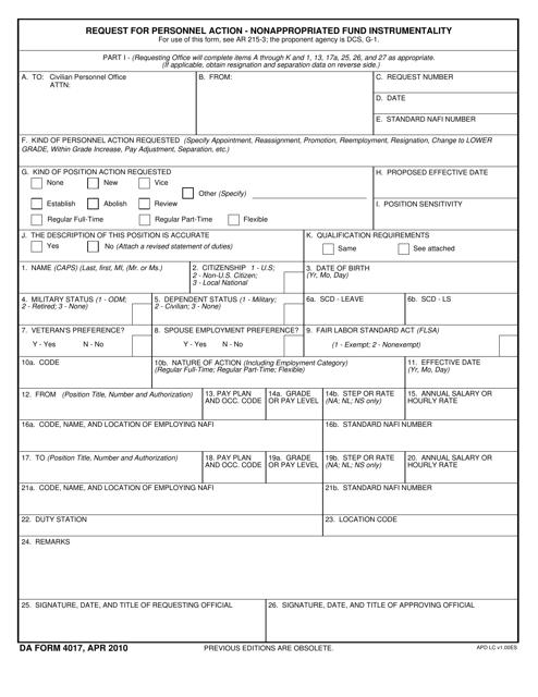 DA Form 4017  Fillable Pdf