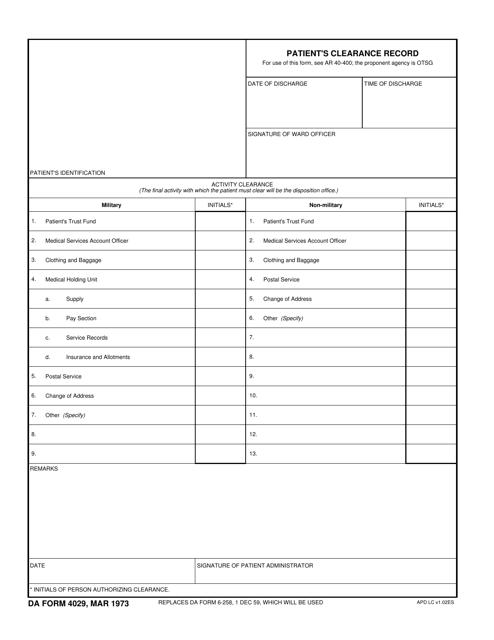 DA Form 4029  Printable Pdf