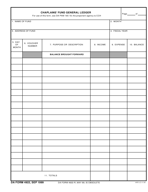 DA Form 4922 Fillable Pdf