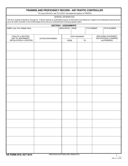 DA Form 3479  Printable Pdf