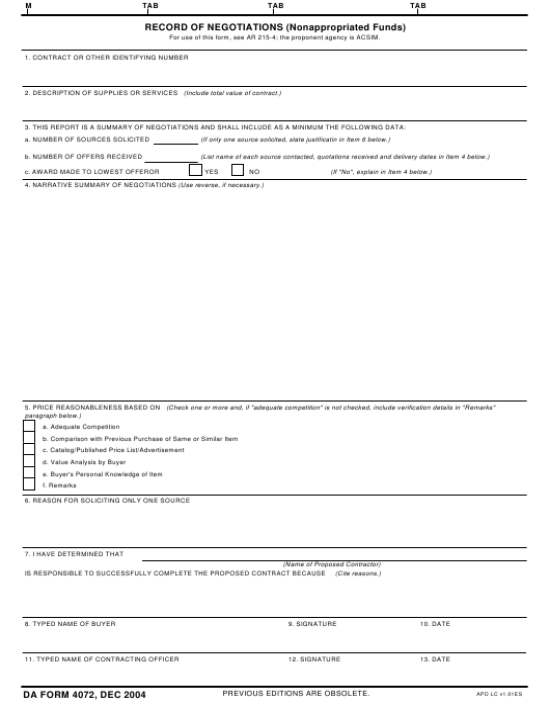 DA Form 4072  Printable Pdf