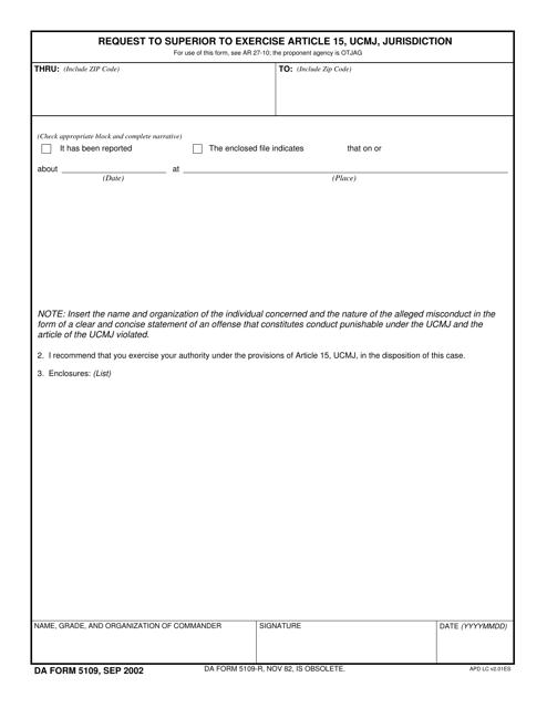 DA Form 5109 Fillable Pdf